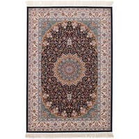eCarpetGallery Power-loomed Persian Collection Mashad Blue Rug - 6' x 9'
