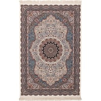 eCarpetGallery Persian Robot Woven Collection Qom Power-loomed Ivory/Multicolored Rug - 6' x 9'