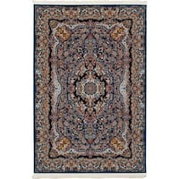 eCarpetGallery Persian Robot Woven Collection Isfahan Power-loomed Blue/Multicolored Indoor Rectangular Rug (6'7 x 9'10)