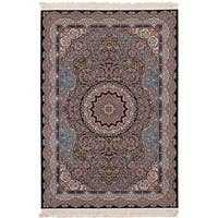 eCarpetGallery Persian Collection Qom Navy Blue Power-loomed Rug - 6' x 9'