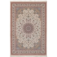 eCarpetGallery Persian Collection Mashad Ivory Power-loomed Rug - 6' x 9'
