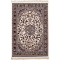 eCarpetGallery Persian Collection Qom Ivory Power-loomed Rug - 6' x 9'