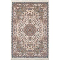 eCarpetGallery Power-loomed Persian Collection Tabriz Ivory/Multicolor Rug - 6' x 9'