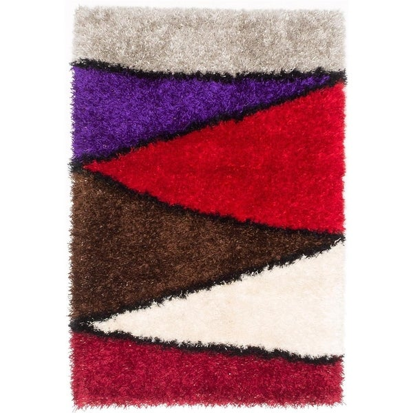 Shop Ecarpetgallery Neon Brown And Red Shag Rug 4 1 X 5 10 Free