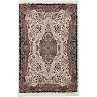 eCarpetGallery Persian Robot Woven Collection Tabriz Power-loomed Ivory/Multicolored Indoor Rectangular Rug (4'11 x 7'5)