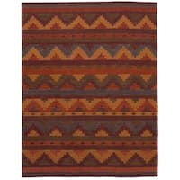 eCarpetGallery Ankara Red Wool Flatweave Kilim Rug