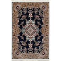 eCarpetGallery Persian Collection Tabriz Blue/Cream Medallion Power-loomed Rug (4'11 x 7'5)