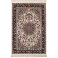 eCarpetGallery Persian Collection Mashad Ivory Power-loomed Rug (4'11 x 7'5)