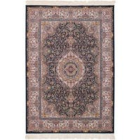 eCarpetGallery Power-loomed Persian Collection Qom Dark Navy Rug (4'11 x 7'5)