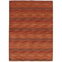 eCarpetGallery Hand-Knotted Luribaft Gabbeh Riz Red  Wool Rug (4'7 x 6'7)