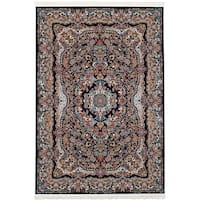 eCarpetGallery Persian Collection Isfahan Blue Medallion Power-loomed Area Rug (4'11 x 7'5)