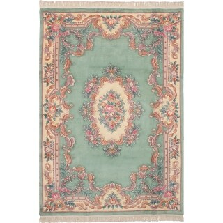 eCarpetGallery Hand-knotted Aubousson Light Green Wool Rug - 6'1 x 9'0
