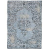 Ecarpetgallery Hand-knotted Eternity Blue Wool Rug (5'7 x 7'11)