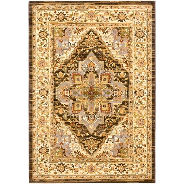 Shop Dark Brown Medallion Corners Rug On Sale Free Shipping
