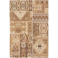 Portico Brown and Cream Patchwork Rug