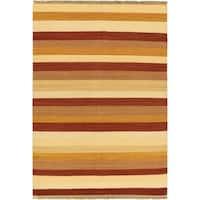 eCarpetGallery Kilim Fiesta Ivory Handwoven Wool Rug - 5'7 x 7'10