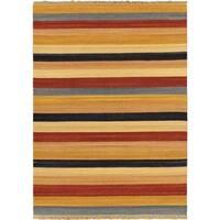 Hand-woven Fiesta Cream Wool Rug - 5'7 x 7'10