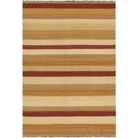 Ecarpetgallery Hand-woven Fiesta Ivory Wool Kilim (5'7 x 7'10)