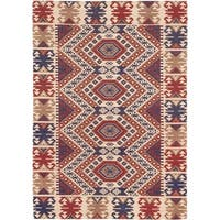 Power-loomed Portico Ivory Red Geometric Rug - 5'3 x 7'7