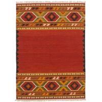 eCarpetGallery Flatweave Kashkoli Kilim Red Wool Kilim Rug
