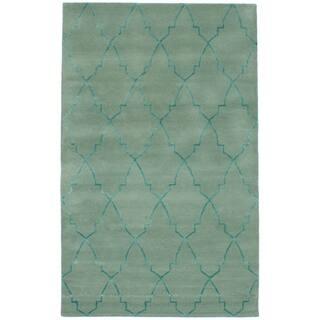 eCarpetGallery Hand-Tufted Trellis Green Wool, Art Silk Rug (5'0 x 8'0)