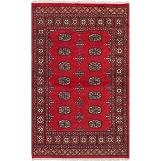 eCarpetGallery Hand-knotted Peshawar Bokhara Red Wool and Cotton Rug (3'2 x 5'3)