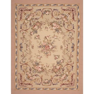 eCarpetGallery French Tapestry Ivory Wool Sumak Handwoven Rug