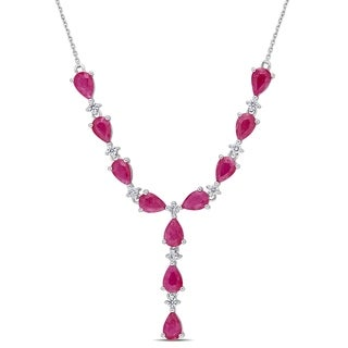 Miadora Signature Collection 14k White Gold Ruby and 1/3ct TDW Diamond Drop Y-Necklace