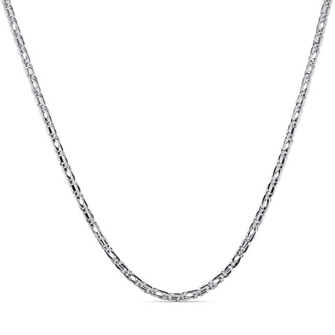 Miadora Signature Collection 10k White Gold Men's Flat Link Chain Necklace
