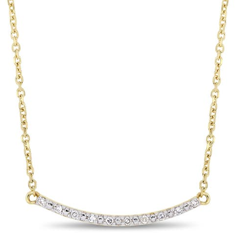Miadora 10k Yellow Gold Diamond Accent Stationed Bar Necklace