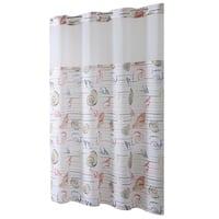 Hookless® Shower Curtain Seashell Stripe Print Coral