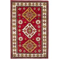 eCarpetGallery Red Wool Hand-knotted Royal Kazak Rug (6'8 x 10'4)