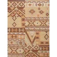 eCarpetGallery Izmir Brown/Yellow Wool Handwoven Kilim Rug - 4'10 x 6'7