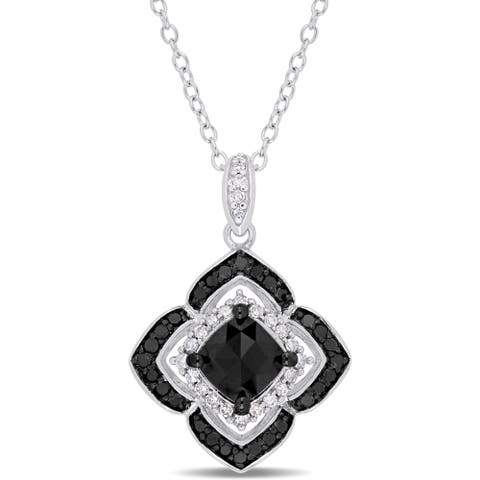 Miadora Signature Collection Sterling Silver with Black Rhodium 1-1/3ct TDW Black and White Diamond Floral Halo Necklace