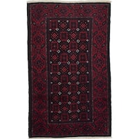 ecarpetgallery Hand-Knotted Finest Baluch Red Wool Rug (3'3 x 5'5)