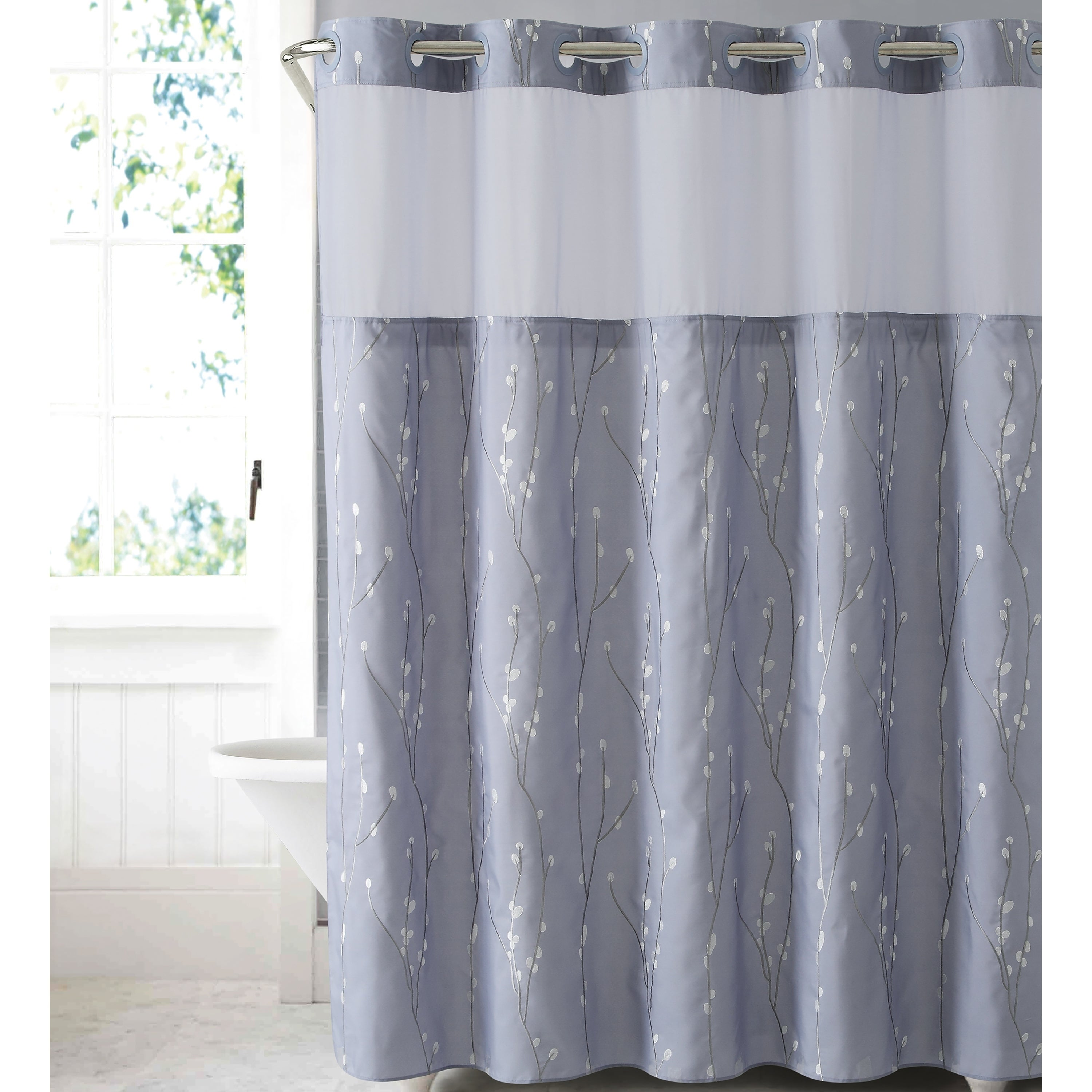 Shop Black Friday Deals On Hookless Shower Curtain Cherry Bloom Purple Gray Overstock 21767602