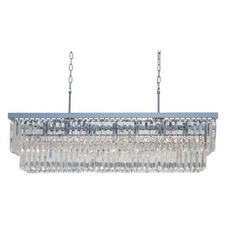D'Angelo 40 Inch Clear Glass Crystal Prism Chandelier