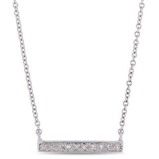 Miadora 10k White Gold Diamond Station Clustered Bar Necklace