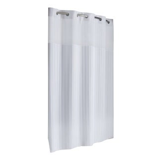 Hookless® Shower Curtain Victorian Satin Stripe White