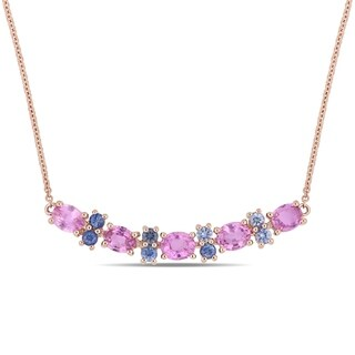 Miadora Signature Collection 14k Rose Gold Pink and Blue Sapphire Stationed Bar Necklace