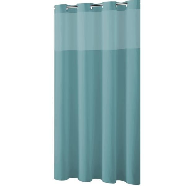 Hookless Brand Shower Curtain.Hookless Shower Curtain Plain Weave Teal Blue