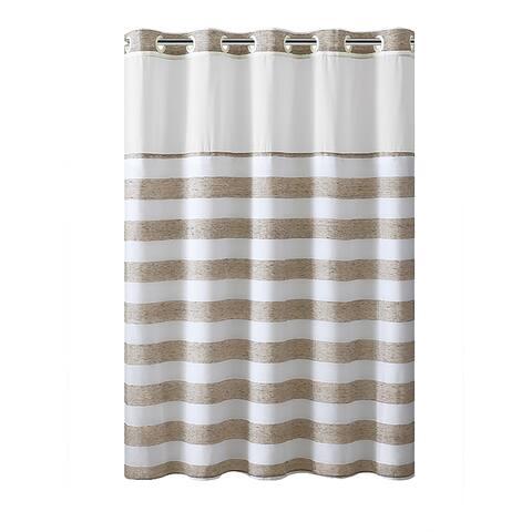 Hookless® Shower Curtain Yarndye Stripe Tan