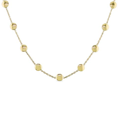 Miadora Signature Collection 18k Yellow Gold Stationed Disc Necklace