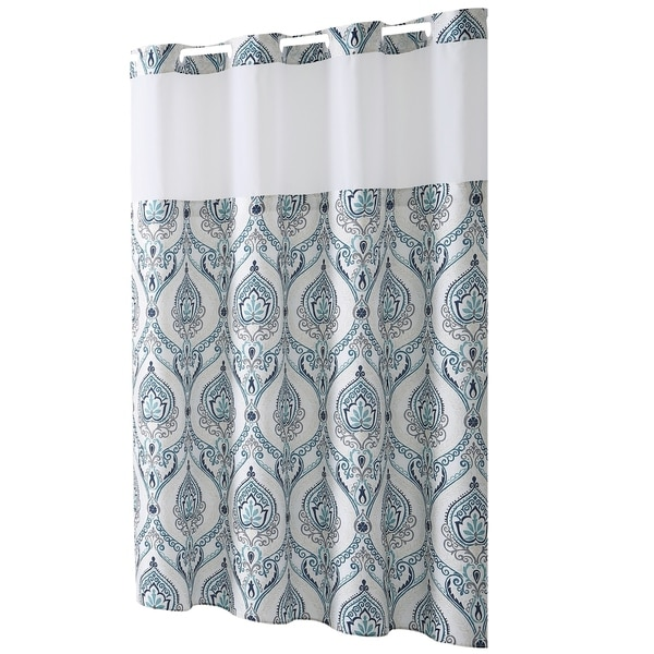 HooklessR Shower Curtain French Damask Print Aqua