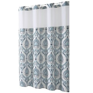 Hookless® Shower Curtain French Damask Print Aqua