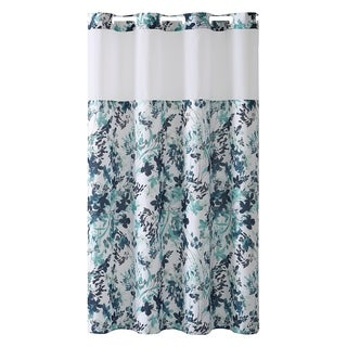 Hookless® Shower Curtain Water Color Floral Print Aqua