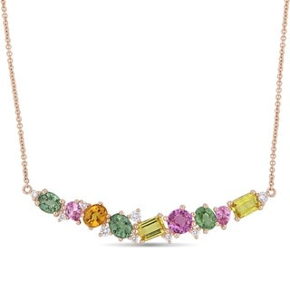 Miadora Signature Collection 14k Rose Gold Yellow Pink and Green Sapphire with 1/5ct TDW Diamond Clustered Bar Necklace