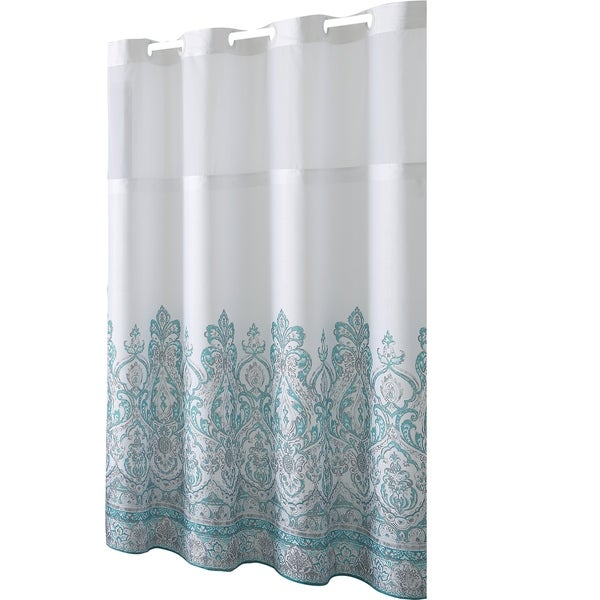 Hookless® Shower Curtain Damask Border Print Teal