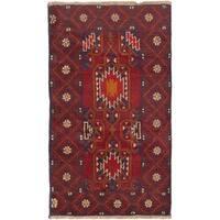 ecarpetgallery Hand-Knotted Kazak Blue Red Wool Rug (2'9 x 4'6)