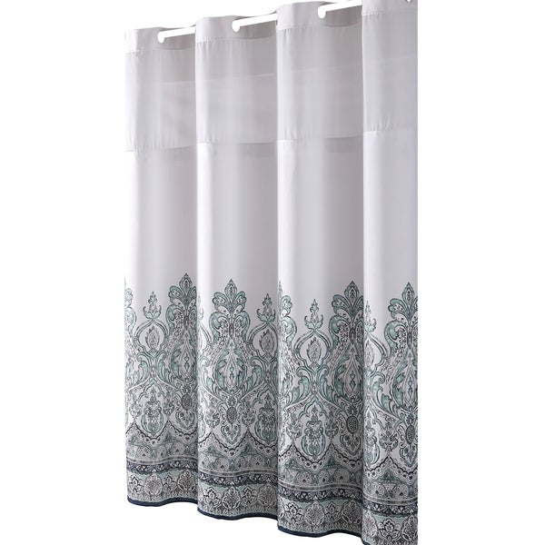 Shop HooklessR Shower Curtain Damask Border Print Blue Grey